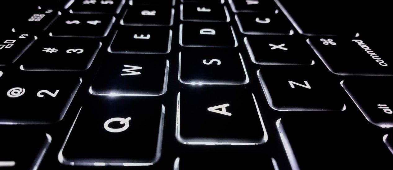 close up of lit keyboard
